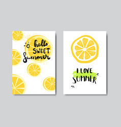 set hello summer lemon badge isolated typographic vector image
