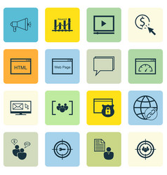 set of 16 advertising icons includes video player vector image