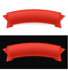 shiny red ribbon on white and black background vector image