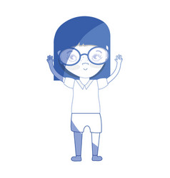 Silhouette pretty girl with hands up and glasses vector