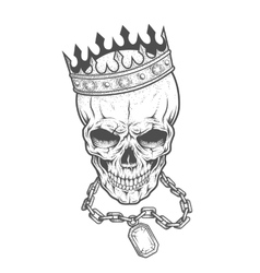 Skull with crown and chain vector