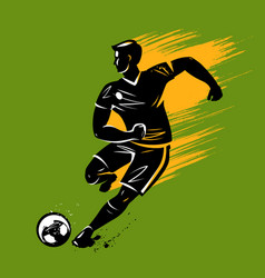 soccer player runs with ball soccer sport vector image
