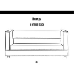 sofa with straight back in the contour on a white vector image