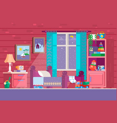 Some kid bedroom of a cartoon vector