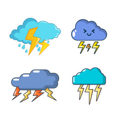 storm cloud icon set cartoon style vector image