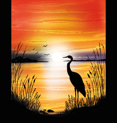 The heron on the lake on sunset vector