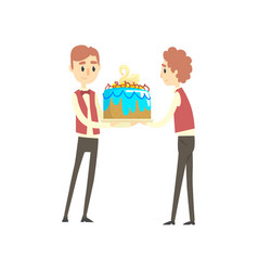 two male waiter holding festive cake with swan vector image