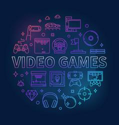 video games concept circular colorful vector image