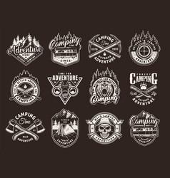 Vintage monochrome camping labels set vector