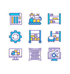 Warehouse management rgb color icon vector