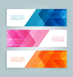 Website banners in three different colors vector