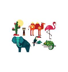 Wild african animals set cactus elements of vector