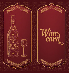 wine card with bottle and glass on the one side vector image