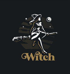 Witch flies on a broom vector