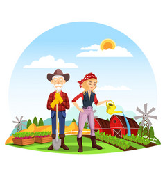 Woman at farm and farmer with spade on field vector