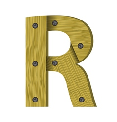 Wood letter R vector