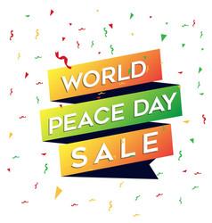 world peace day sale graphic element vector image