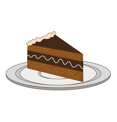 dish with piece of cake with cream vector image