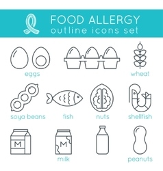 Food Allergy Triggers Flat Outline Icons Set vector image vector image
