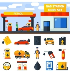 Gas petrol station icons collection banner vector image vector image