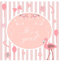 its a girl announcement baby shower collection vector image