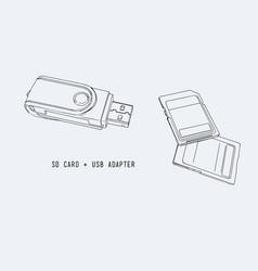 sd memory card usb adapter vector image
