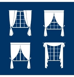 Window curtains set vector image vector image