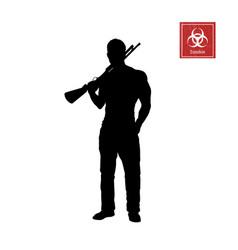 black silhouette of man with shotgun vector image