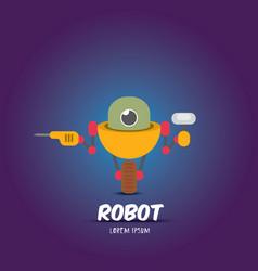 cartoon flat robot or cyborg vector image
