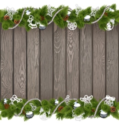 Christmas Old Board with Silver Decorations vector image vector image