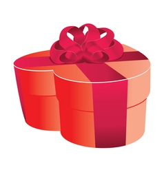 Heart shaped red gift box vector image
