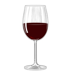 Red wine glass in vintage engraving style vector image vector image