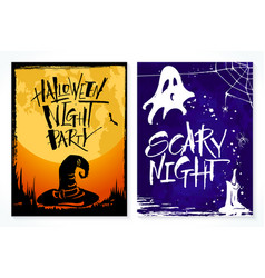 two hand drawn halloween greeting card vector image