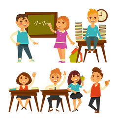 children in school learning lessons flat vector image