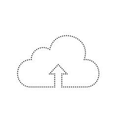 cloud technology sign black dotted icon vector image vector image