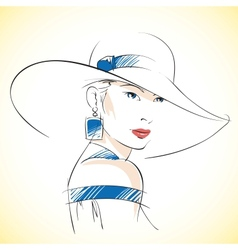 Fashion sketch of beautiful young female vector image vector image