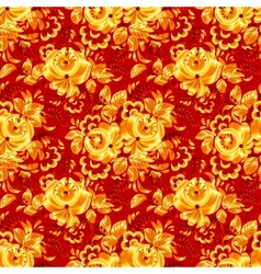 Red textile seamless pattern with golden flowers vector image