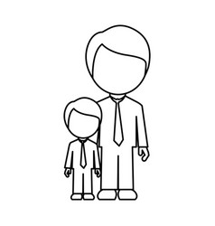 silhouette man with his son icon vector image