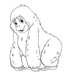 animal outline for chimpanzee vector image