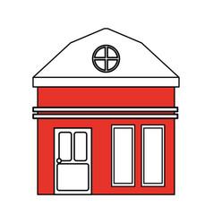 color silhouette cartoon red facade small house vector image