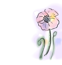 Digital watercolor flower poppy vector image vector image