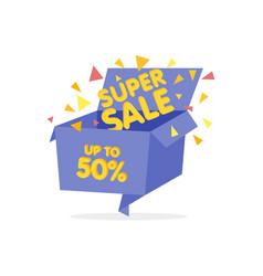 Open blue gift box and confetti sale background vector