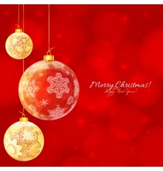 Red and white glossy Christmas balls vector image vector image
