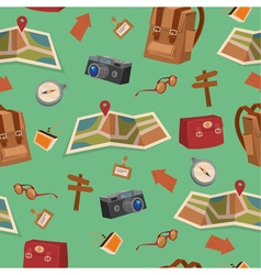 Seamless Pattern with Camping Elements vector image