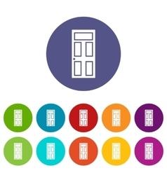 Wooden door with glass set icons vector image vector image
