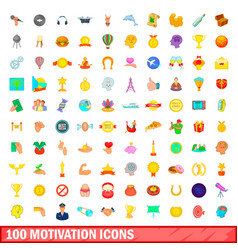 100 motivation icons set cartoon style vector