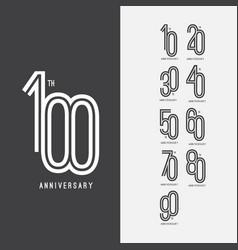 100 th anniversary set 10 20 30 40 50 60 70 80 90 vector