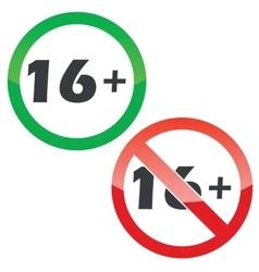 16 plus permission signs set vector image
