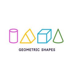 a set geometric figures linear drawing vector image