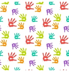Abstract color hand prints seamless pattern vector